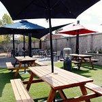Renovated beer garden.