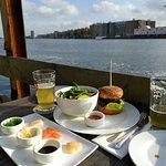 Beautiful views,  crab burger with salad, sashimi,  beer.