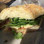 Ham, brie, peach chutney sandwich