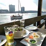 Beautiful views, crab burger, sashimi, beer
