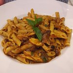 Chicken curry and penne