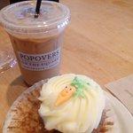 Carrot cupcake and an iced coffee