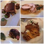 Entrees - Scottish Salmon, Chicken Roulade, Teres Major Steak, Roasted Pork Pappardelle