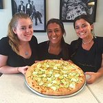 Catherine, Haley and Abigail with our zucchini, ricotta, lemon and mint pizza