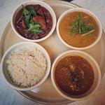Nola Sampler - Red Bean and Rice, Crawfish Etouffee and Duck Gumbo.