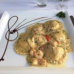 Crab & prawn ravioli, melt in the mouth!