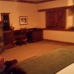 Room shot - fireplace (L), fridge/microwave (center) & bathroom (R)
