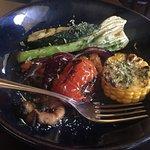 Steak for 2 with veggies & seasoning sauces.