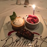 Special birthday treat for my spouse...key lime pie and sorbet