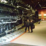 One of the HUGE old steam locomotives on display inside the museum.
