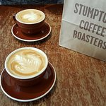 Lattes on a rainy afternoon at Stumptown