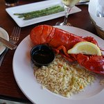 Maine lobster with rice pilaf, drawn butter and lemon!