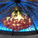 One of five chandeliers. Love the concept of glass bouquet of roses