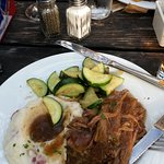 Guiness Beef Brisket, mashed redskins and sauted zuchini -it was fabulous!
