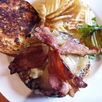 Blackened blue cheese and bacon burger