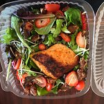 Strawberry Salad with Blackened Salmon