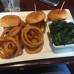 Chicken Parm sliders, onion rings , and spinach