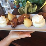 Apple Fritter and pear with lemon Panna cotta
