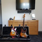 The guitars set up when we walked in our room.