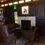 Fireplace in the bar area of the Mason Street Grill; live music on weekends