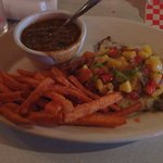 Jerk Platter with BBQ beans and sweet potato fries! YUM!