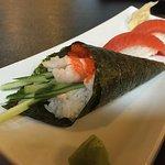 Spicy Shrimp Cone w/ Salmon Nigiri