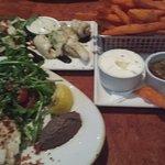 baramundi salad, calamari and sweet potato chips