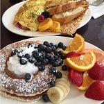 Denver omelette and blueberry pancakes