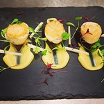 Pan fried scallops  curried cauliflower purée & Doreen's black pudding..