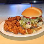 Foxy's Burger and Cheese Curds....YUM!