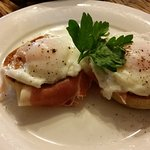 Poached eggs, on air dried ham, on a toasted muffin - Yum!