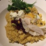 Butternut Squash Risotto with goat cheese, beets and fennel