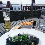 View from the beer garden and lovely Mussels for lunch.