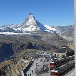 Gornergrat Bahn rail terminus with the Matterhorn posing perfectly