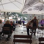 Dubrovnik having coffee ,lovely old city.Watching the busy harbour ,and restaurants getting read