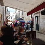 Rain but we had lunch in the dry .sun came out and soon warmed up ,we browsed the shops enjoyed