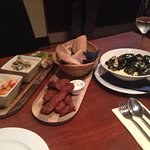 Mussels dish on the right, lamb central, monkfish with scallops in chilli to the left