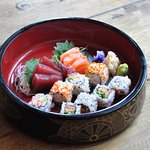 Maki sushi and sashimi set