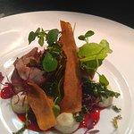 Saddle of rabbit, mushroom duxelle, blackberry jus