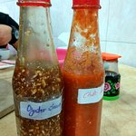 The oyster sauce and chilli sauce~
