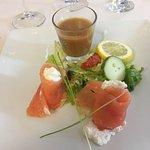 Belle entrée et présentation, saumon