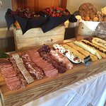 Sunday Brunch at Waterline. Charcuterie, fruit, and breads.