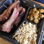 Large rib plate - one with potato salad one with dirty rice. Both delicious.