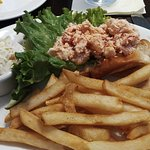 Lovely chunky lobster roll, good coleslaw and fries too.