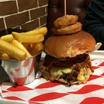 Steak Burger with a portion of Pulled Pork with hand-cooked chips