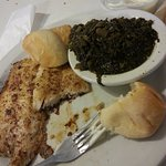 cajun grilled catfish and turnip greens