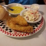 fried catfish and slaw and creamed corn