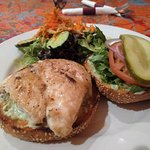 grilled chicken burger with salad