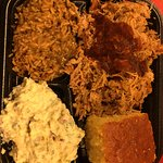 pulled chicken dirty rice potato salad and corn bread