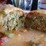 Waterfront Grille Breakfast Burrito scrambled eggs, chorizo, jalapenos, hash browns, chile verde